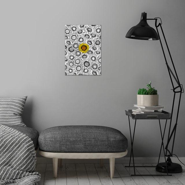 Sunflower pattern wall art is showcased in interior