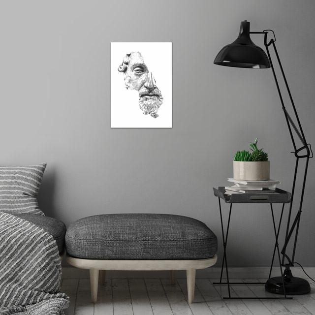 MARCUS AURELIUS ANTONINUS AUGUSTUS / black / white wall art is showcased in interior