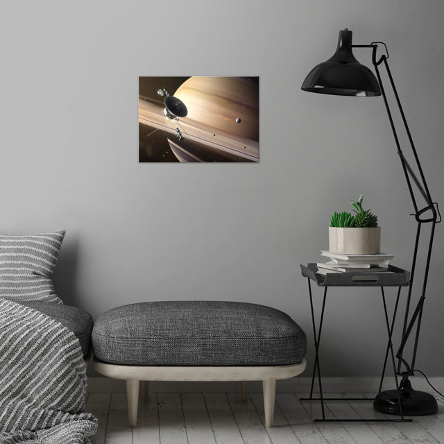 Saturn Flyby wall art is showcased in interior