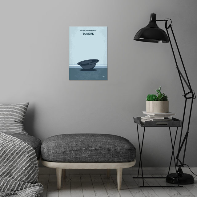 No905 My Dunkirk minimal movie poster wall art is showcased in interior