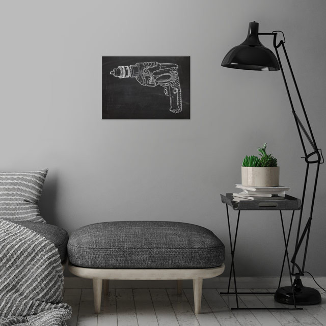 Electric Drill - Drawing wall art is showcased in interior