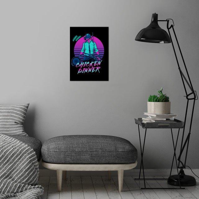 Retro Winner wall art is showcased in interior