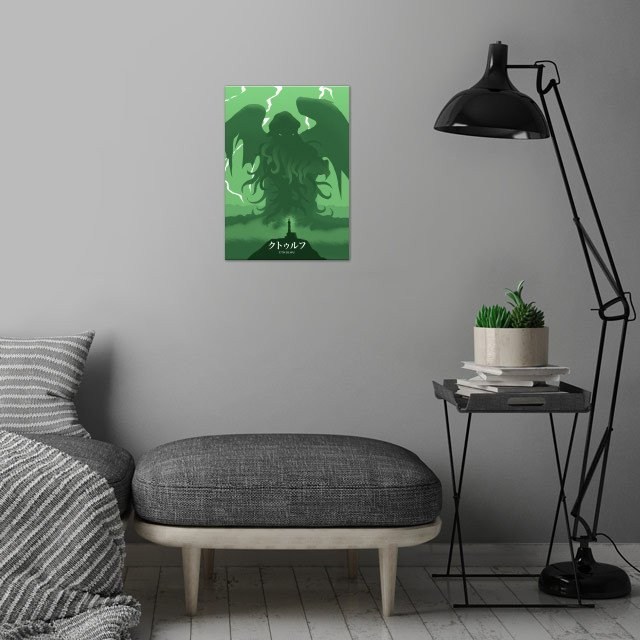 Cthulhu wall art is showcased in interior