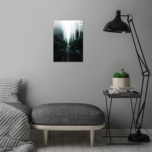 Mist city wall art is showcased in interior