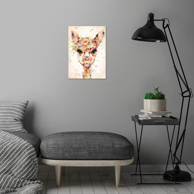 Little Llama (water colour art) wall art is showcased in interior