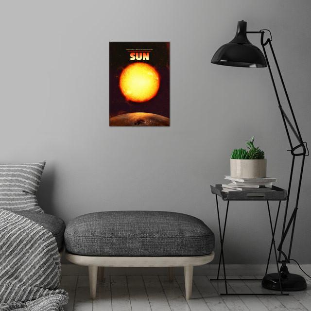 Sun wall art is showcased in interior