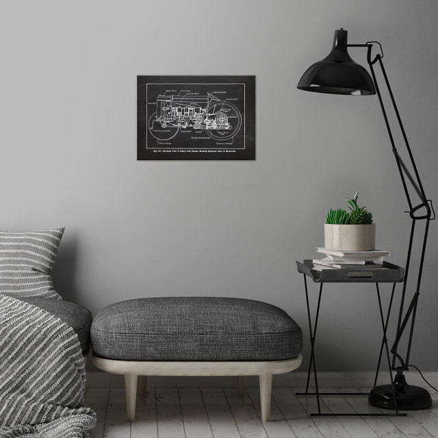 Ford Tractor - Patetent Drawing wall art is showcased in interior
