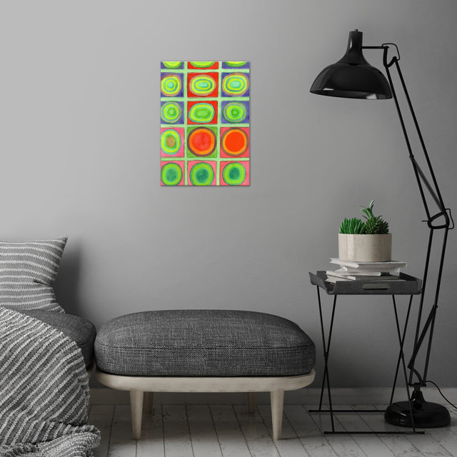 Green Grid filled with Circles and intense Colors  wall art is showcased in interior