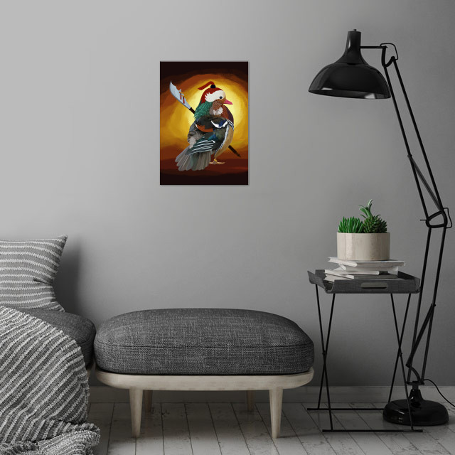 Warrior Duck wall art is showcased in interior
