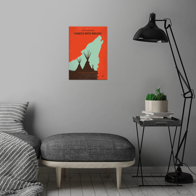 No949 My Dances with Wolves minimal movie poster wall art is showcased in interior