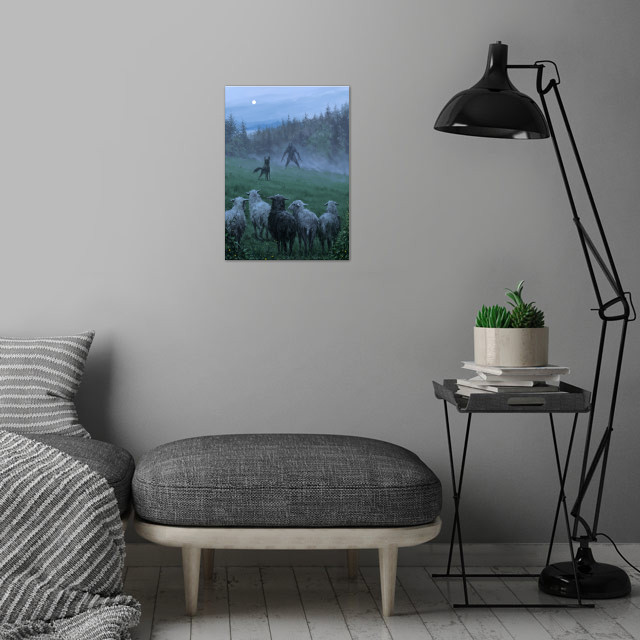 Shepherd and his faithful dog wall art is showcased in interior