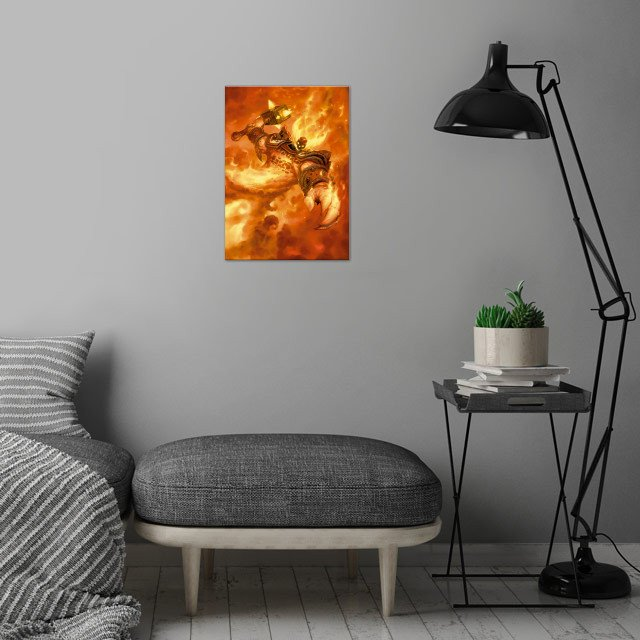 Ragnaros the Firelord wall art is showcased in interior