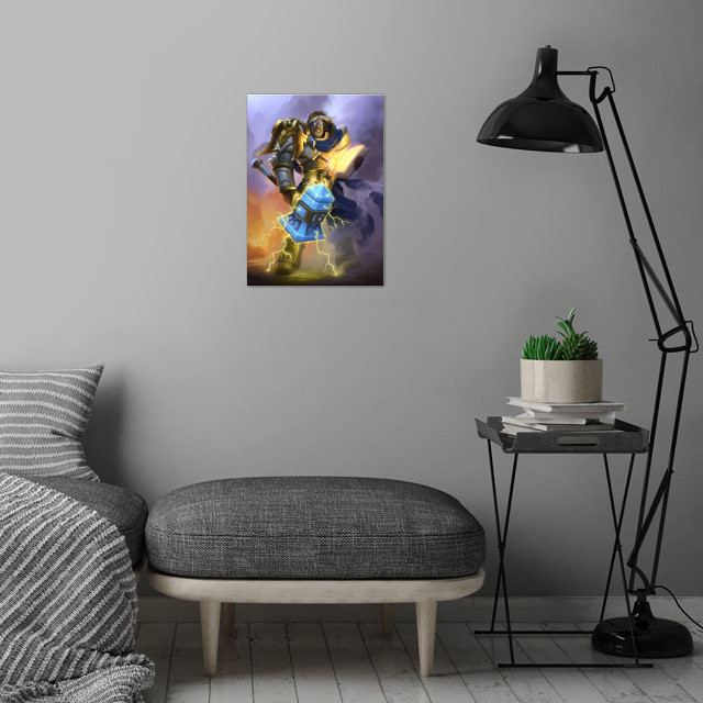 Uther the Lightbringer wall art is showcased in interior