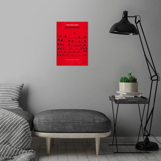 No960 My Red Sparrow minimal  wall art is showcased in interior