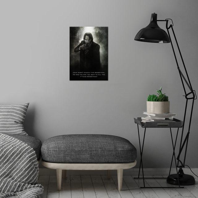 John Wick Boogeyman Killer / Tagline wall art is showcased in interior