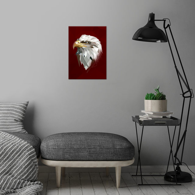 White modern Eagle head to your wall wall art is showcased in interior