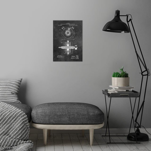 patent art Tesla 1891 Alte wall art is showcased in interior
