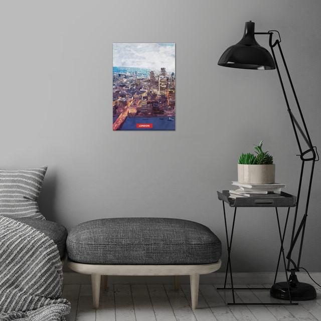 London city skyline wall art is showcased in interior