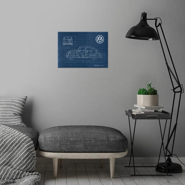 Volkswagen type 1 wall art is showcased in interior