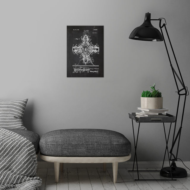 1924 Rotary Engine - Patent Drawing  wall art is showcased in interior