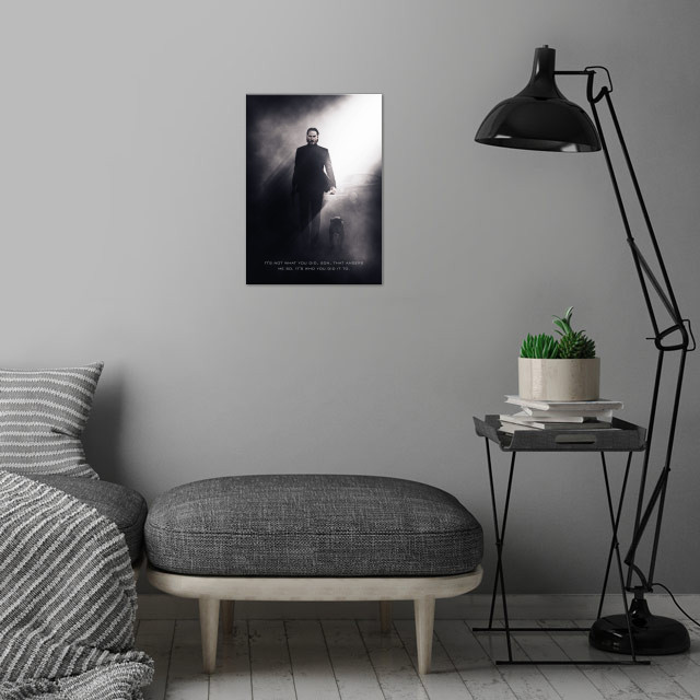 John Wick / Tagline wall art is showcased in interior