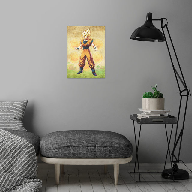 Goku wall art is showcased in interior