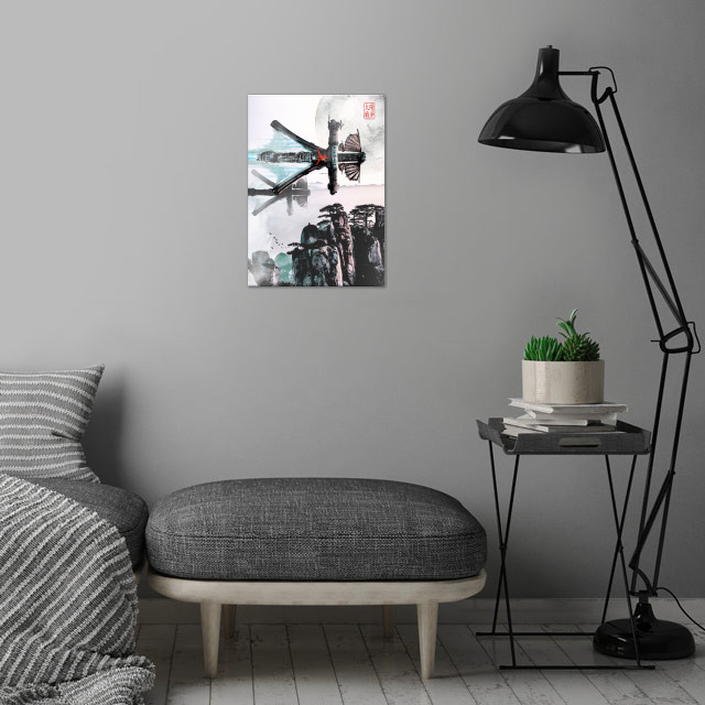 Wood Spaceship wall art is showcased in interior