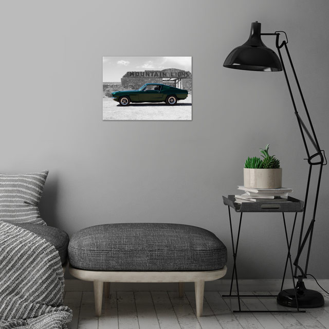 Mt Lion Mustang wall art is showcased in interior