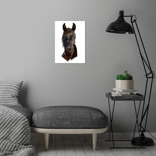 Horse wall art is showcased in interior