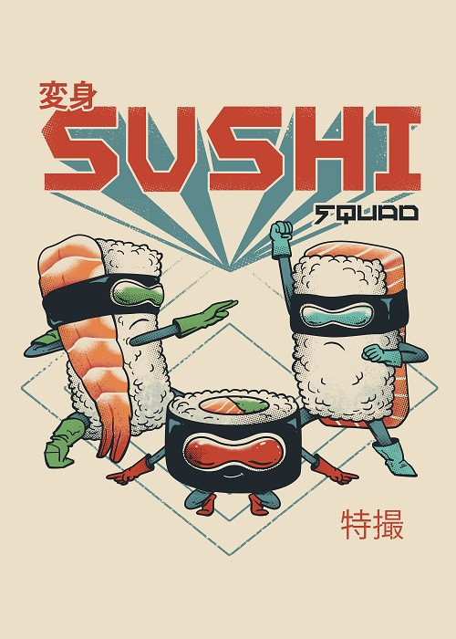 sushi squad illustration