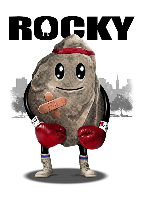 rocky superhero illustration