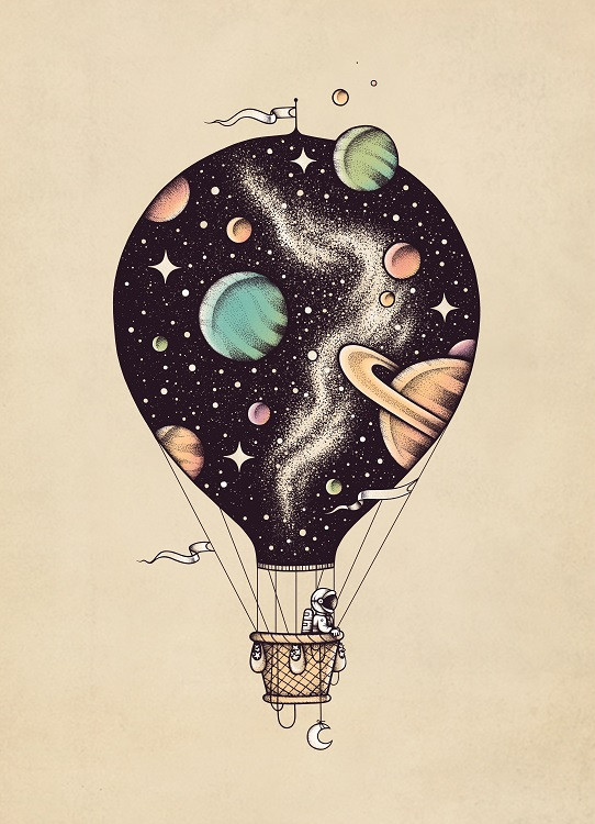 voyage art challenge baloon poster