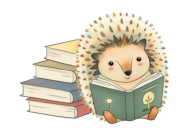 hedgehog reading book