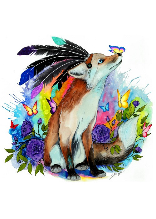 colorful fox with butterfly