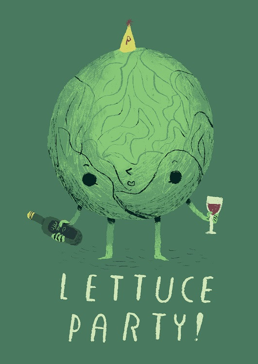 lettuce with wine illustration