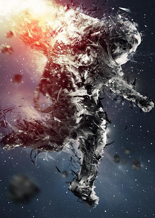 astronaut metal poster