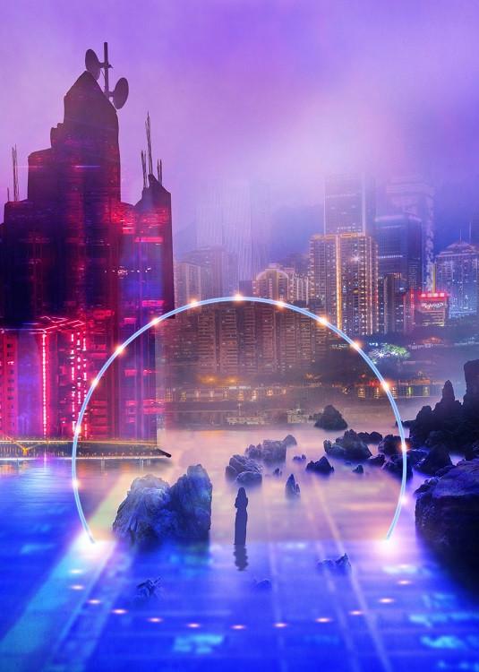 cyberpunk street poster