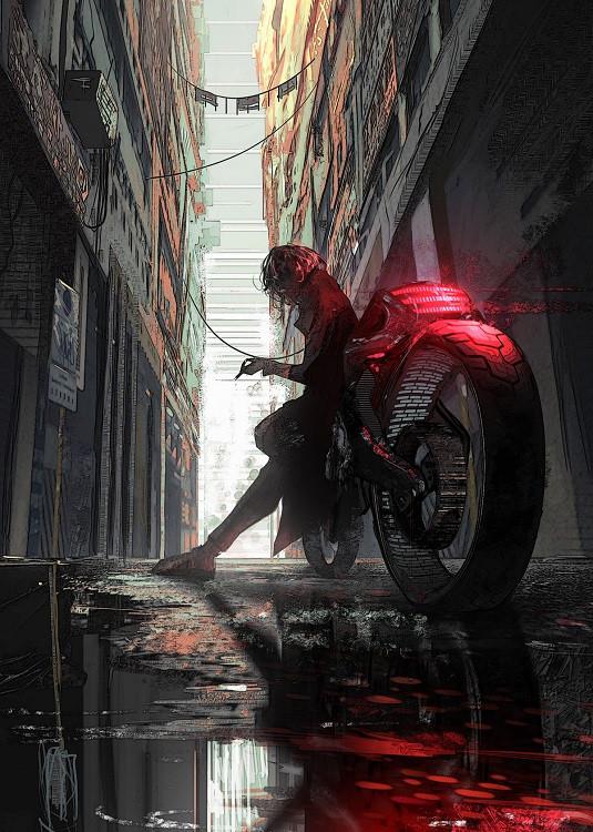 cyberpunk motorbike poster