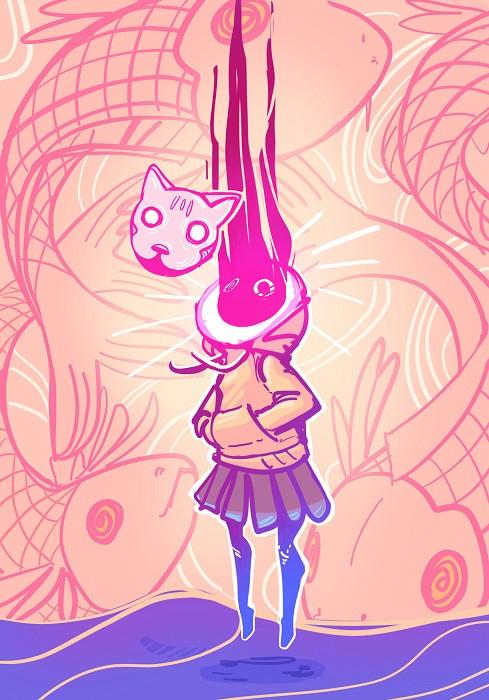 girl in space illustration