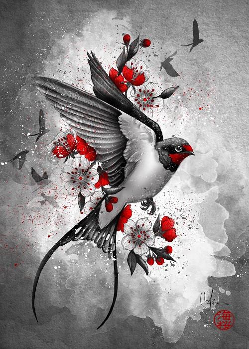 japanese bird illustration