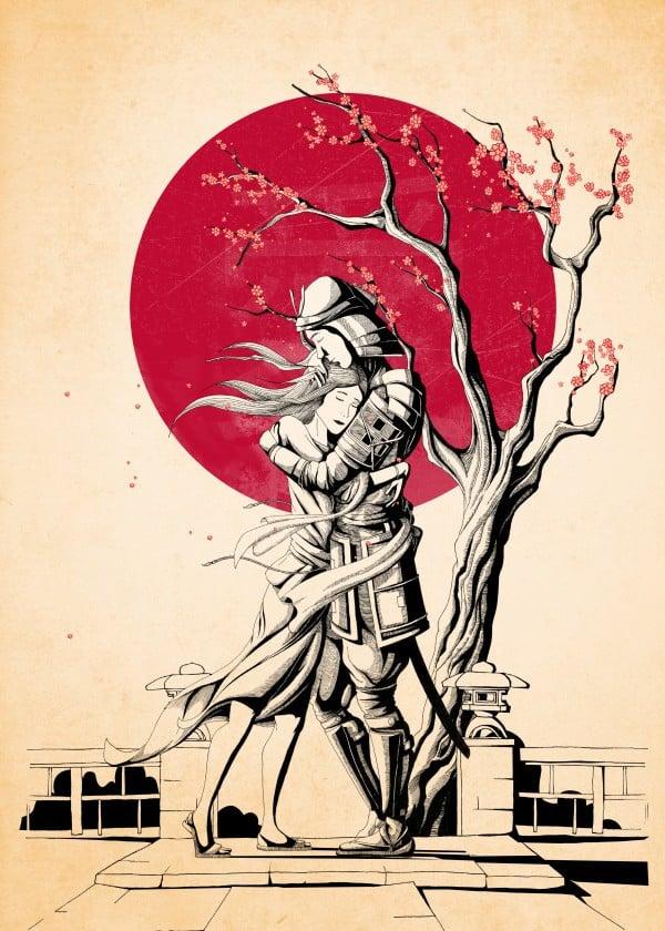 love-art-for-valentines-day-asian-couple-samurai