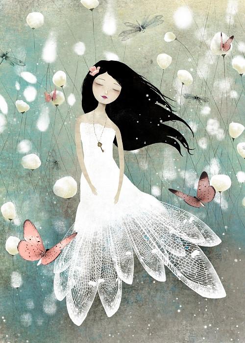 white dress doll
