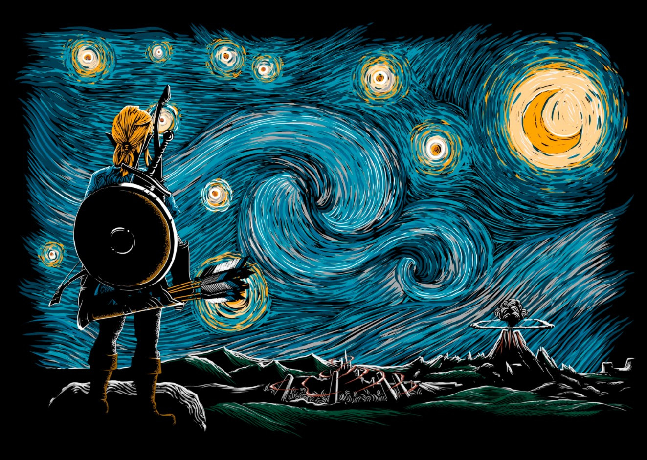 Legend of Zelda's Link in style of Van Gogh picture