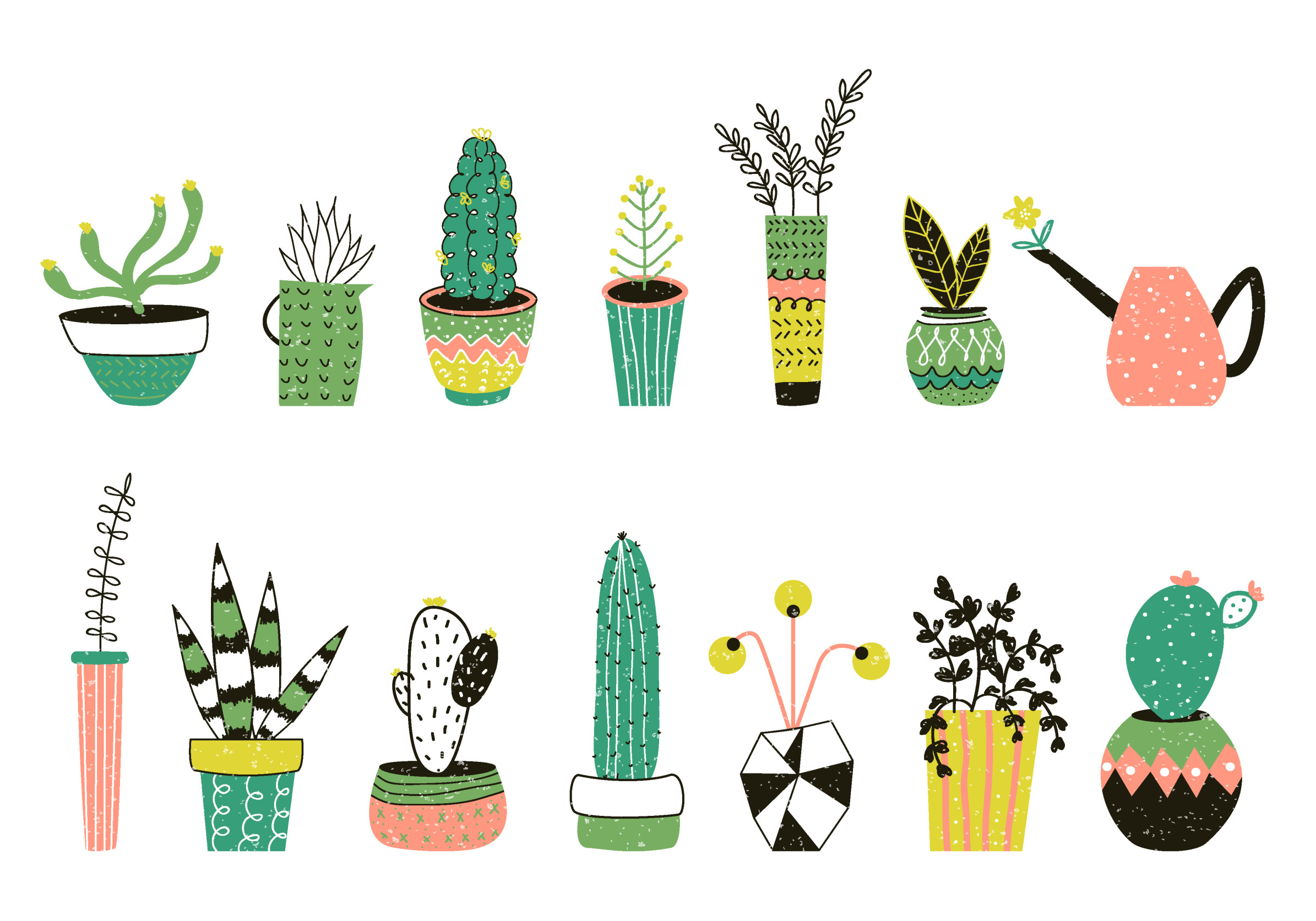 sweet cacti plants drawings stamps